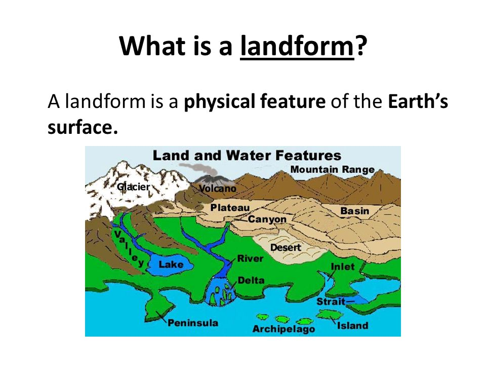 What is a landform A landform is a physical feature of the Earth's surface.