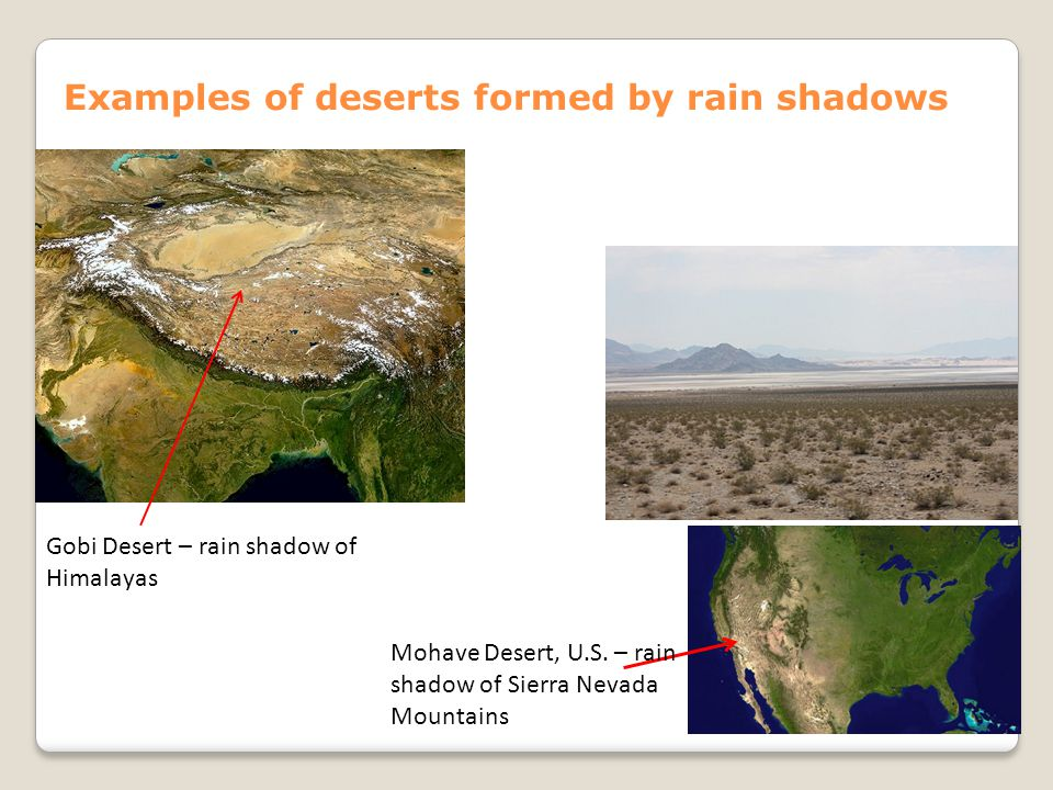 Examples of deserts formed by rain shadows