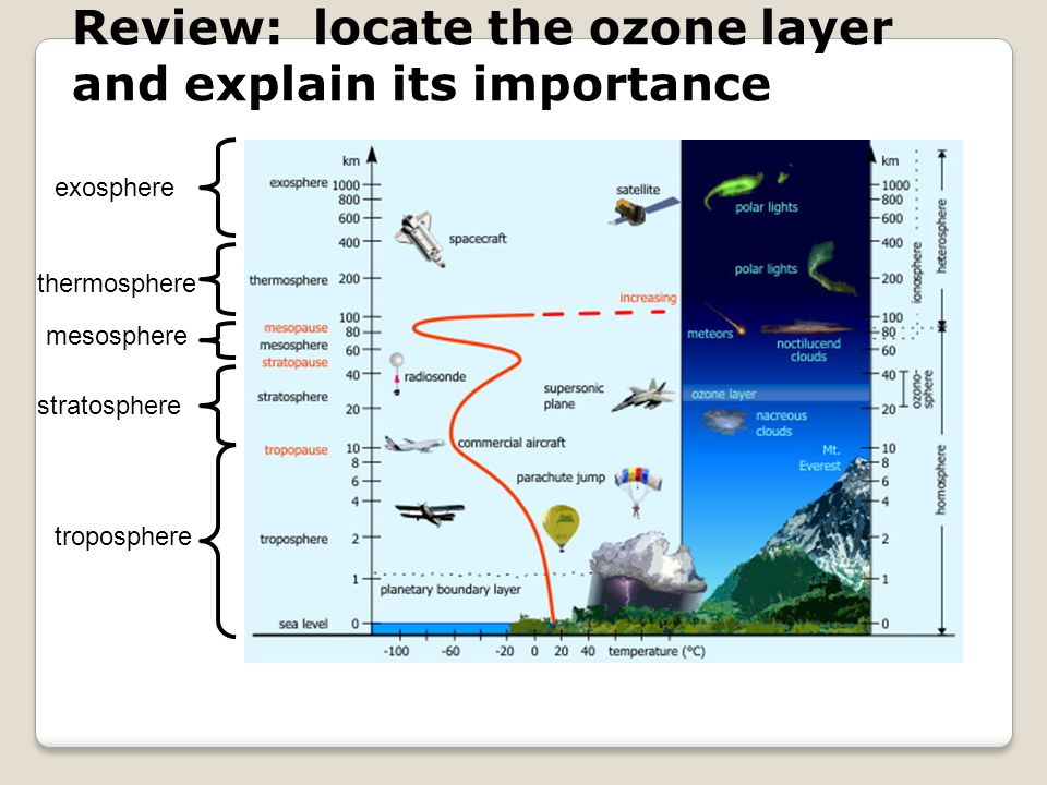 Review: locate the ozone layer and explain its importance