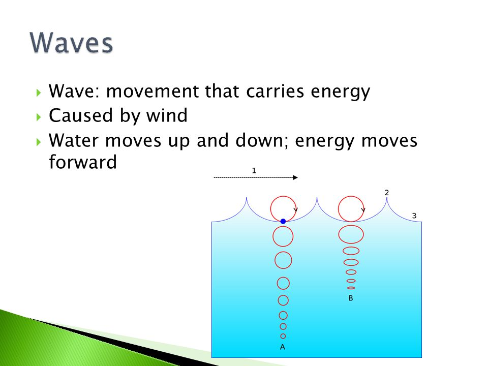 Waves Wave: movement that carries energy Caused by wind