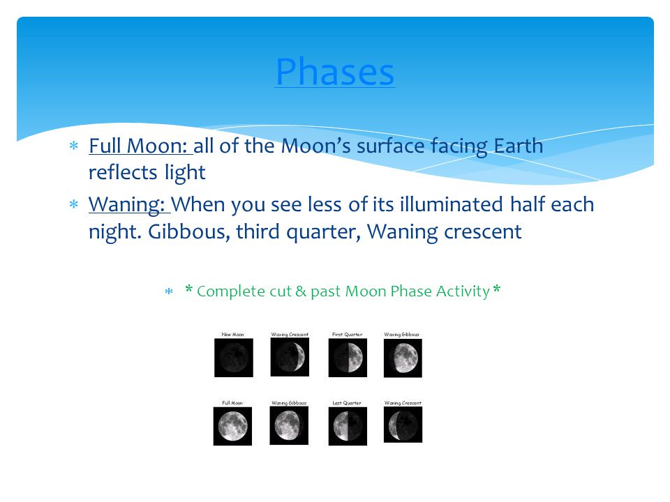 * Complete cut & past Moon Phase Activity *