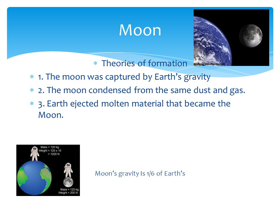 Moon's gravity Is 1/6 of Earth's