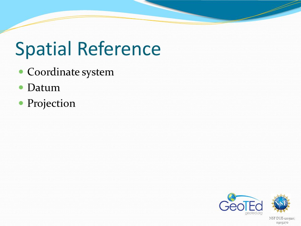 Spatial Reference Coordinate system Datum Projection
