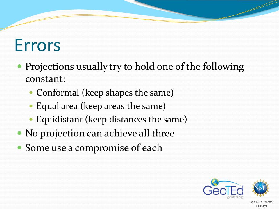 Errors Projections usually try to hold one of the following constant: