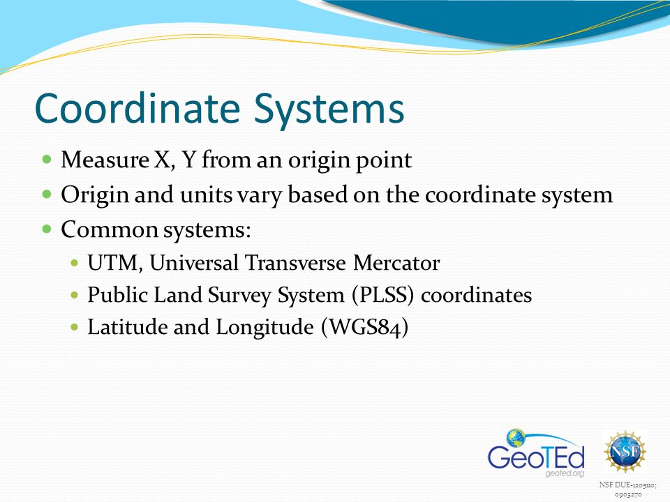 Coordinate Systems Measure X, Y from an origin point