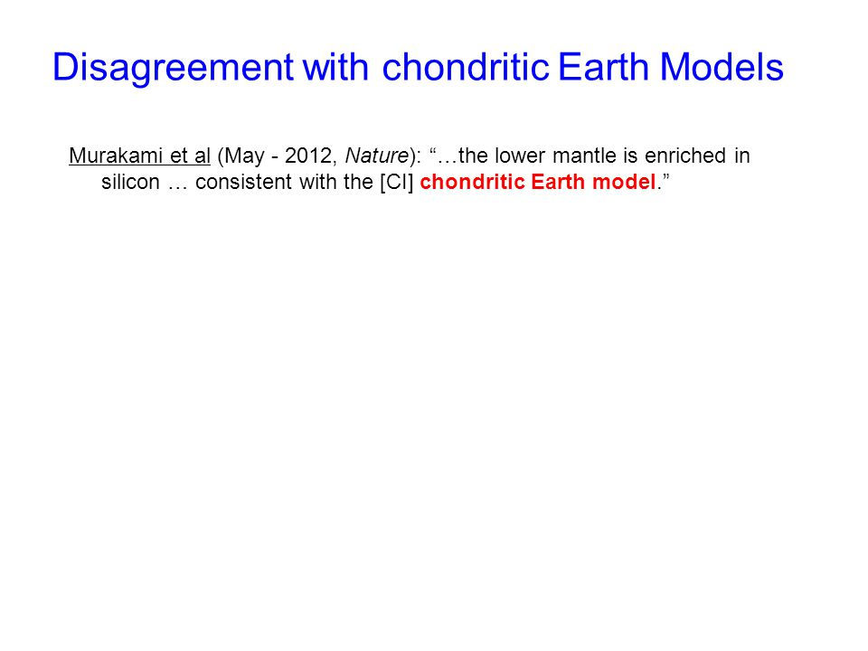 Disagreement with chondritic Earth Models