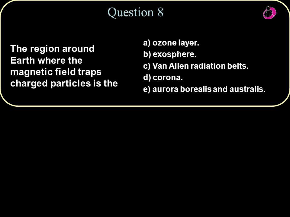 Question 8 a) ozone layer. b) exosphere. c) Van Allen radiation belts. d) corona. e) aurora borealis and australis.