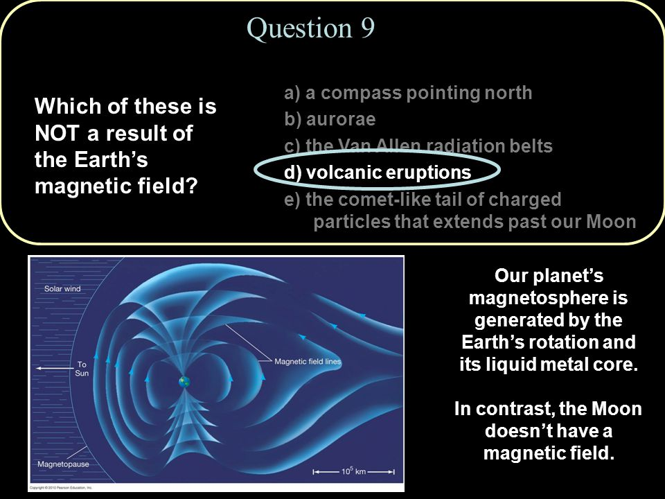 Question 9 a) a compass pointing north. b) aurorae. c) the Van Allen radiation belts. d) volcanic eruptions.
