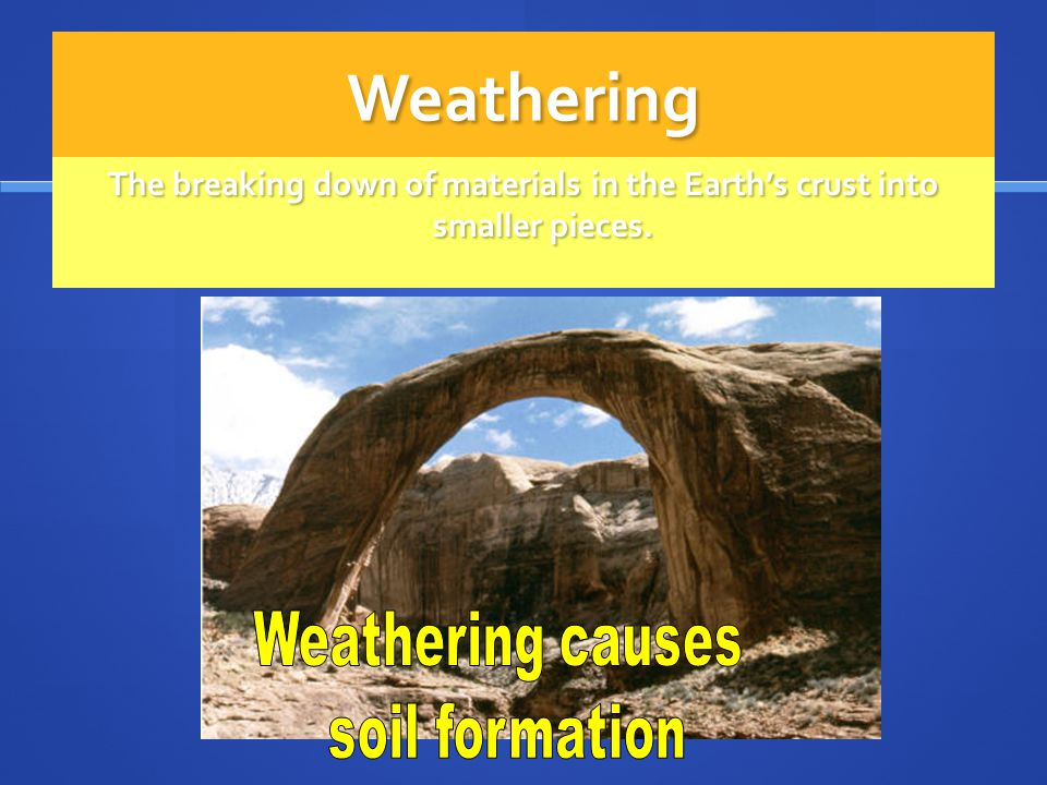 Weathering The breaking down of materials in the Earth's crust into smaller pieces. Weathering causes.