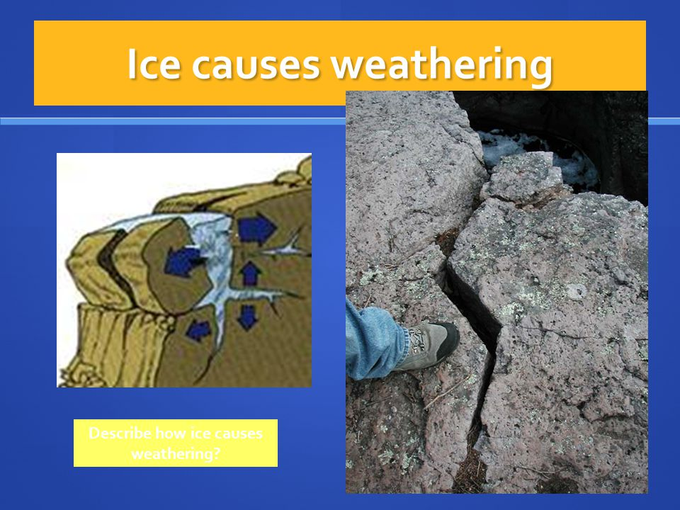 Describe how ice causes weathering