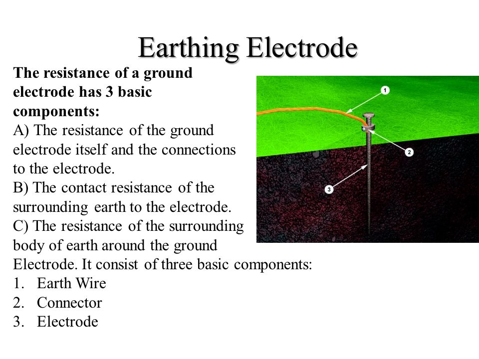 Earthing Electrode The resistance of a ground electrode has 3 basic