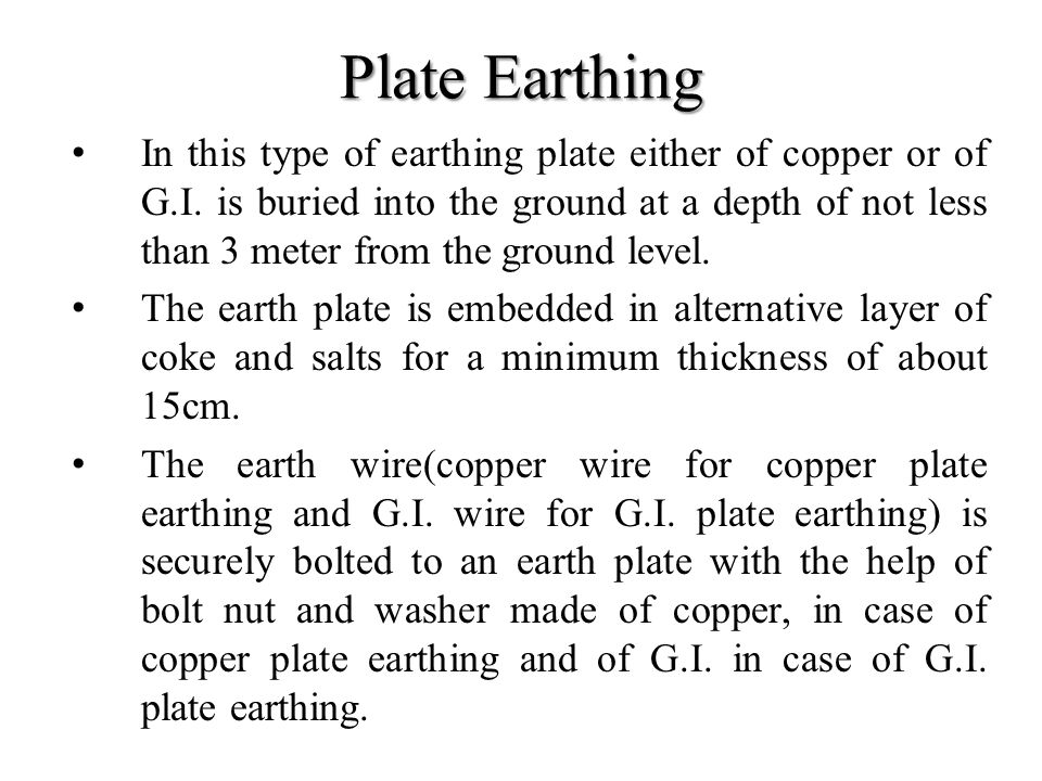 Plate Earthing