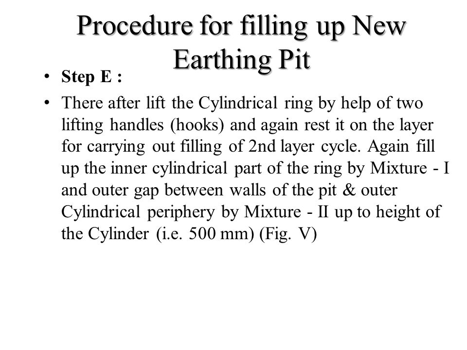 Procedure for filling up New Earthing Pit