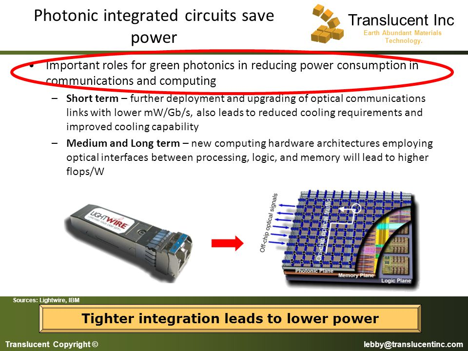 Photonic integrated circuits save power