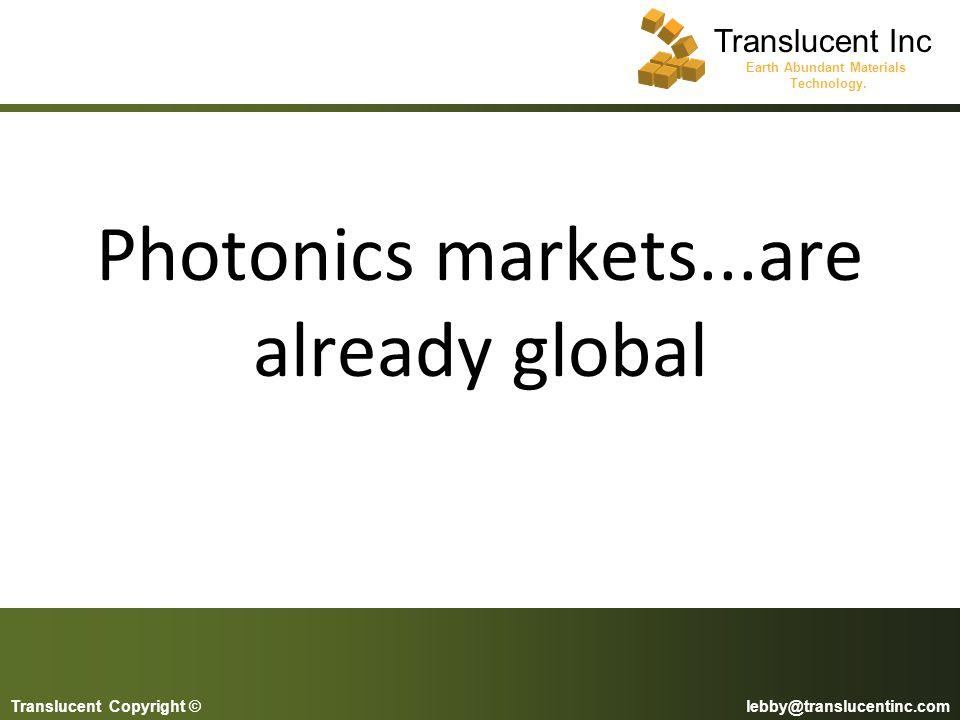 Photonics markets...are already global