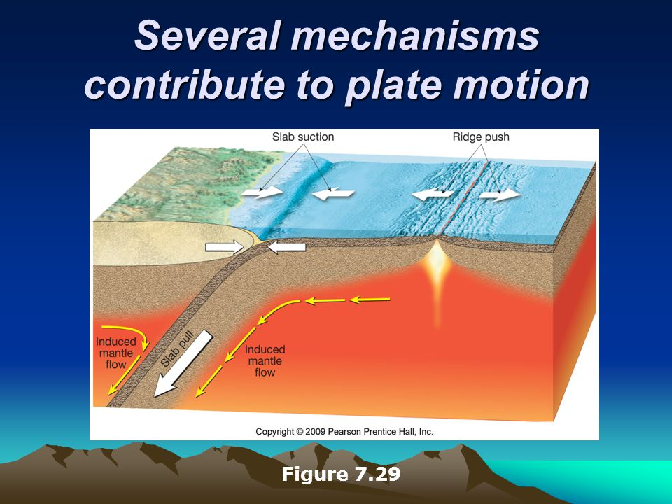 Several mechanisms contribute to plate motion