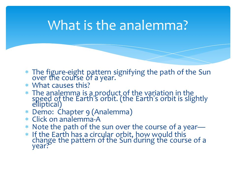 What is the analemma The figure-eight pattern signifying the path of the Sun over the course of a year.