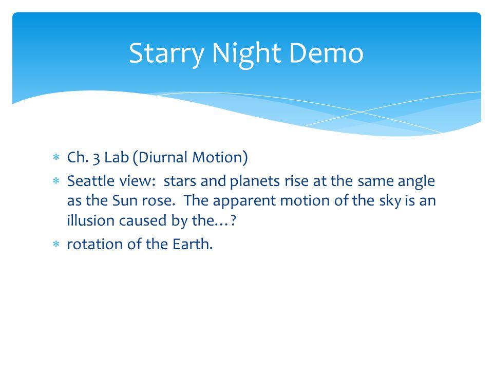 Starry Night Demo Ch. 3 Lab (Diurnal Motion)