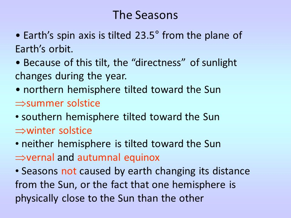 The Seasons Earth's spin axis is tilted 23.5° from the plane of Earth's orbit.