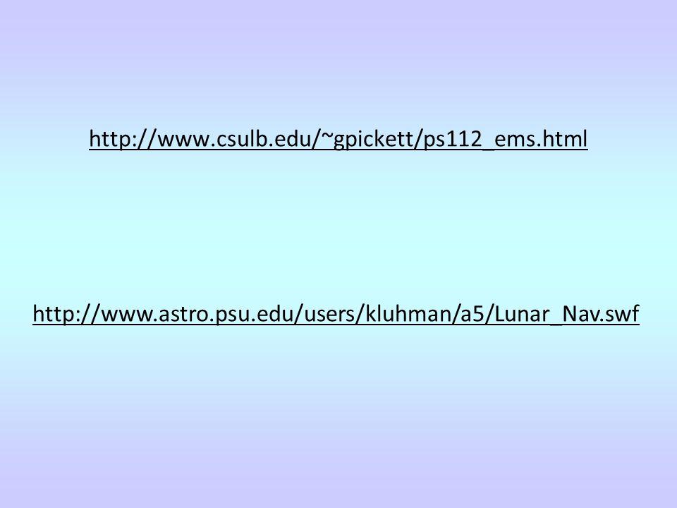 http://www.csulb.edu/~gpickett/ps112_ems.html http://www.astro.psu.edu/users/kluhman/a5/Lunar_Nav.swf.