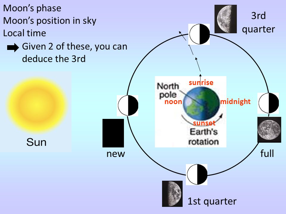 3rd quarter new full 1st quarter Moon's phase Moon's position in sky