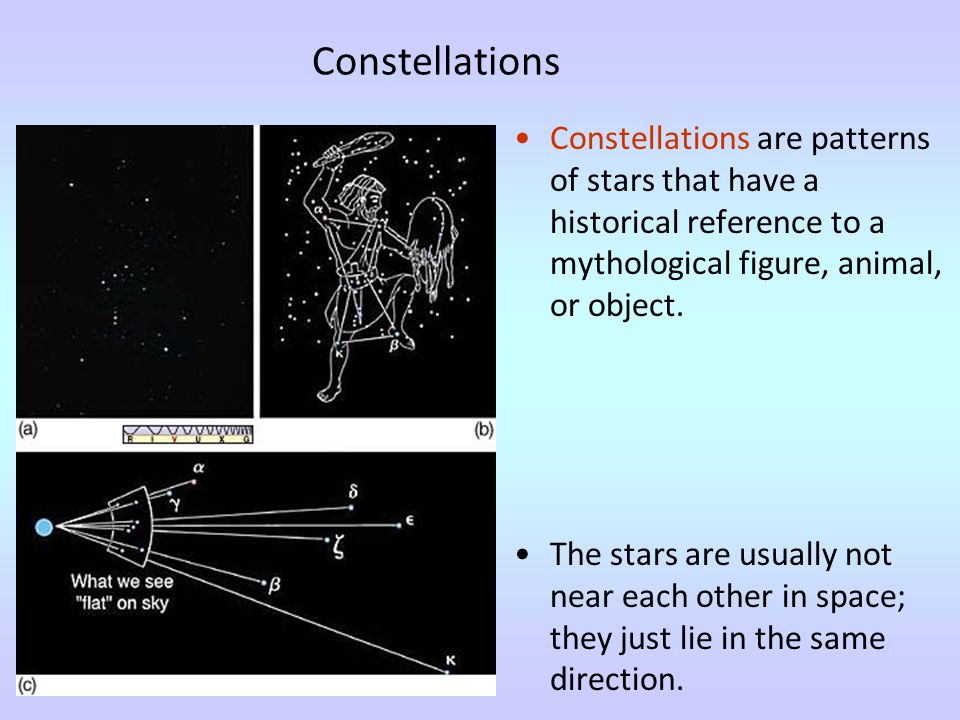 Constellations Constellations are patterns of stars that have a historical reference to a mythological figure, animal, or object.