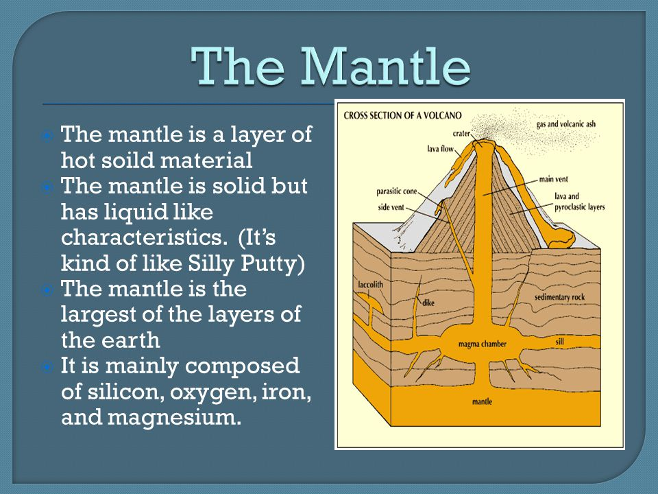 The Mantle The mantle is a layer of hot soild material