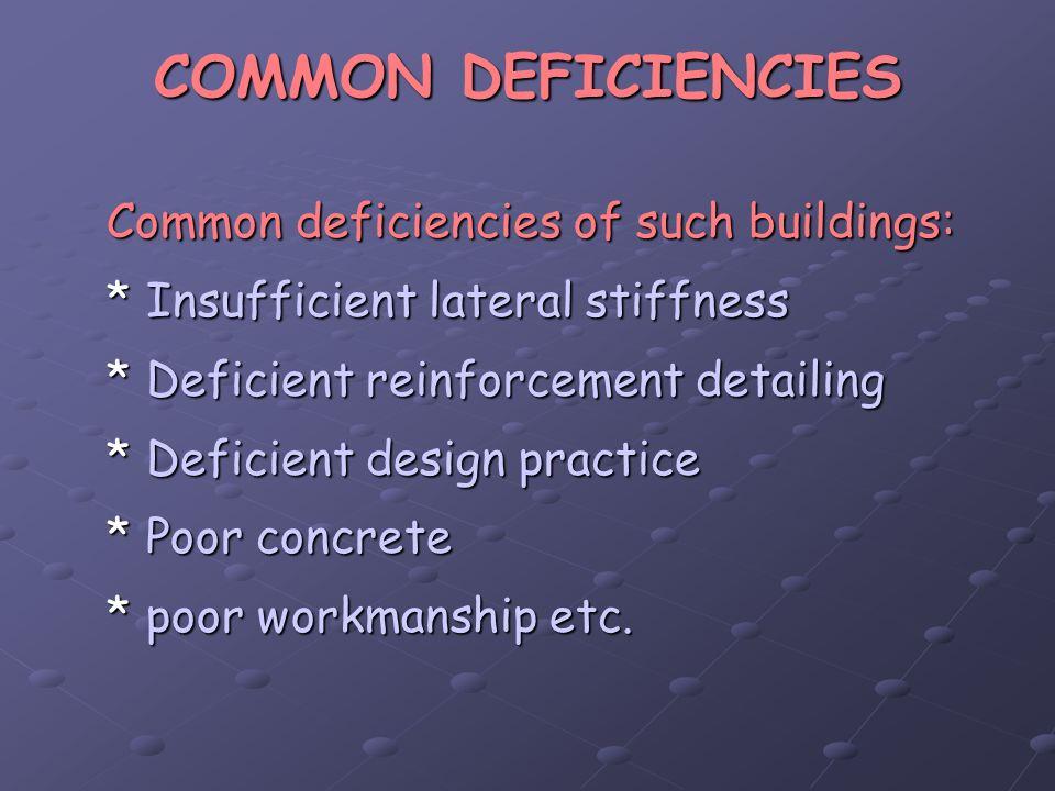 COMMON DEFICIENCIES Common deficiencies of such buildings: