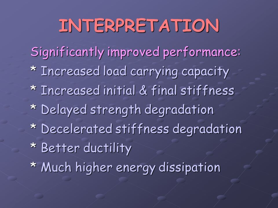 INTERPRETATION Significantly improved performance: