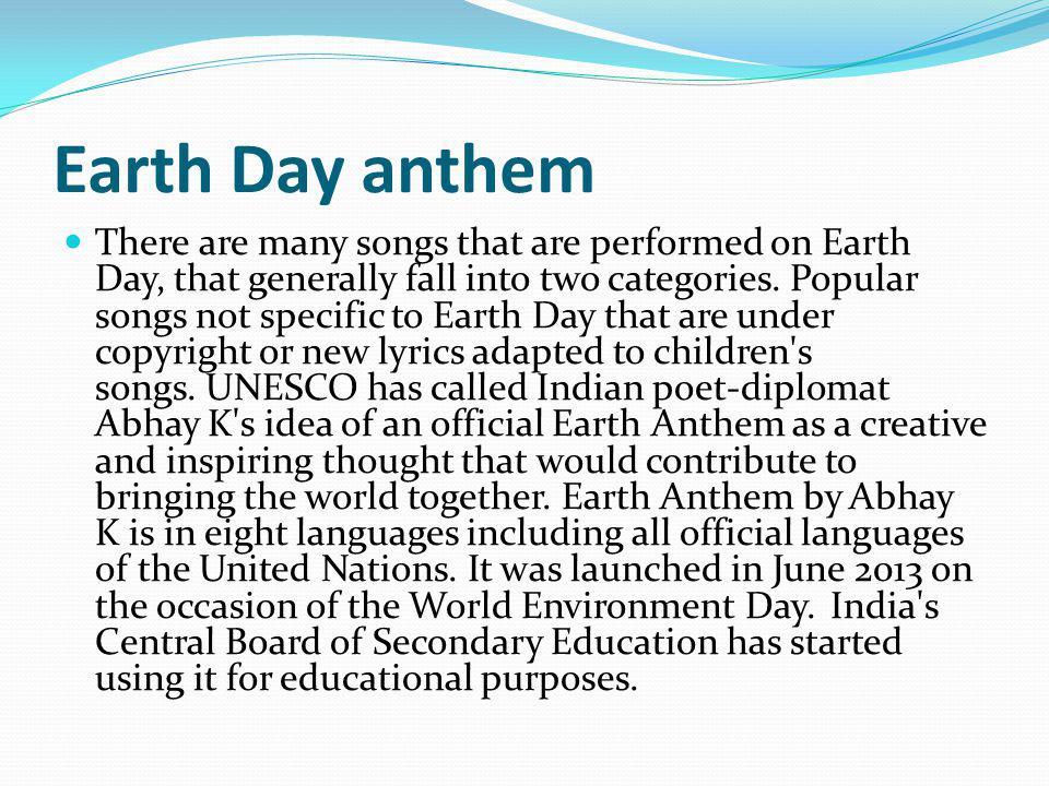 Earth Day anthem