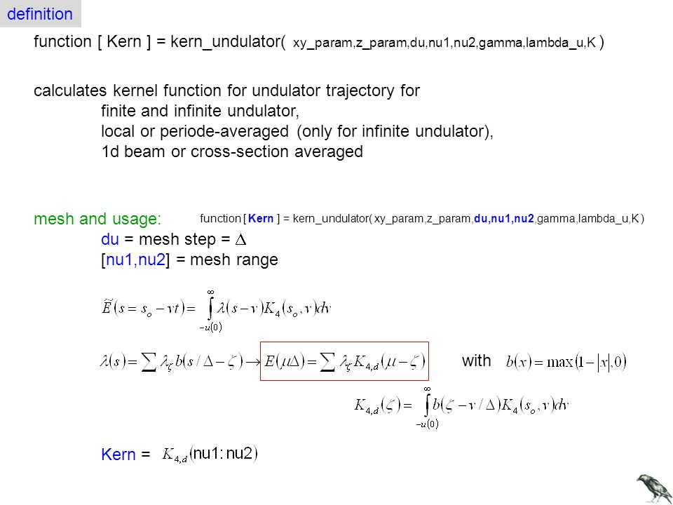 calculates kernel function for undulator trajectory for