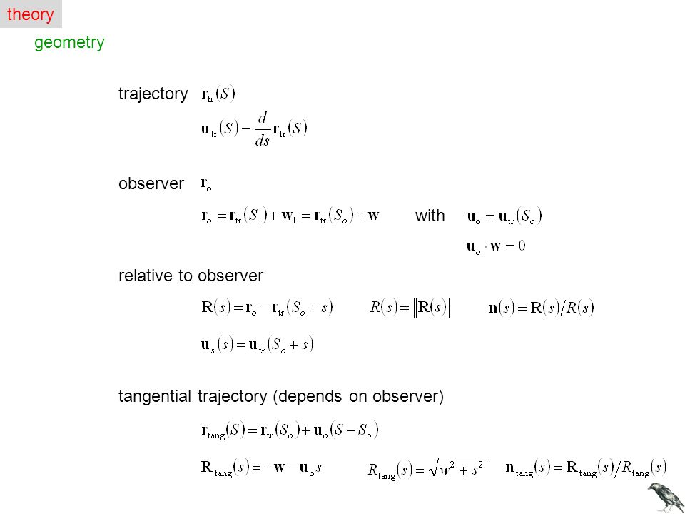 theory geometry. trajectory. observer. with.