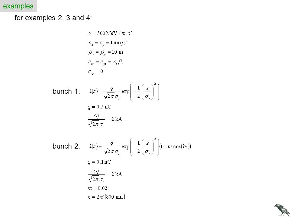 examples for examples 2, 3 and 4: bunch 1: bunch 2: