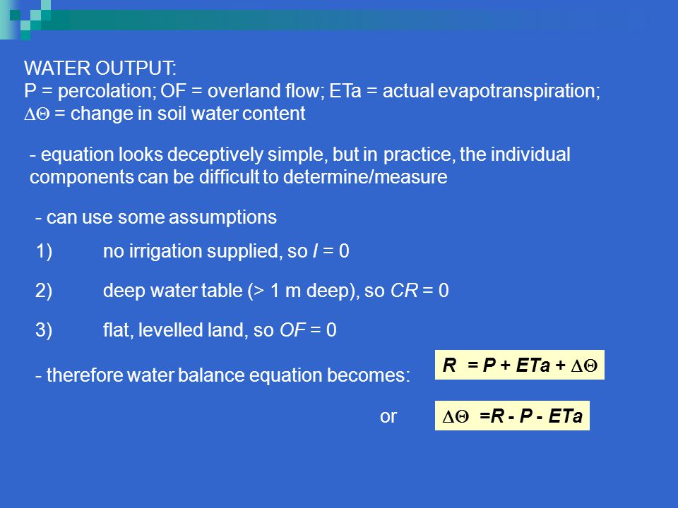 WATER OUTPUT: P = percolation; OF = overland flow; ETa = actual evapotranspiration;  = change in soil water content.