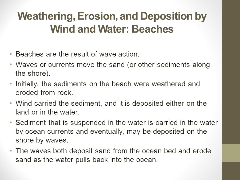 Weathering, Erosion, and Deposition by Wind and Water: Beaches