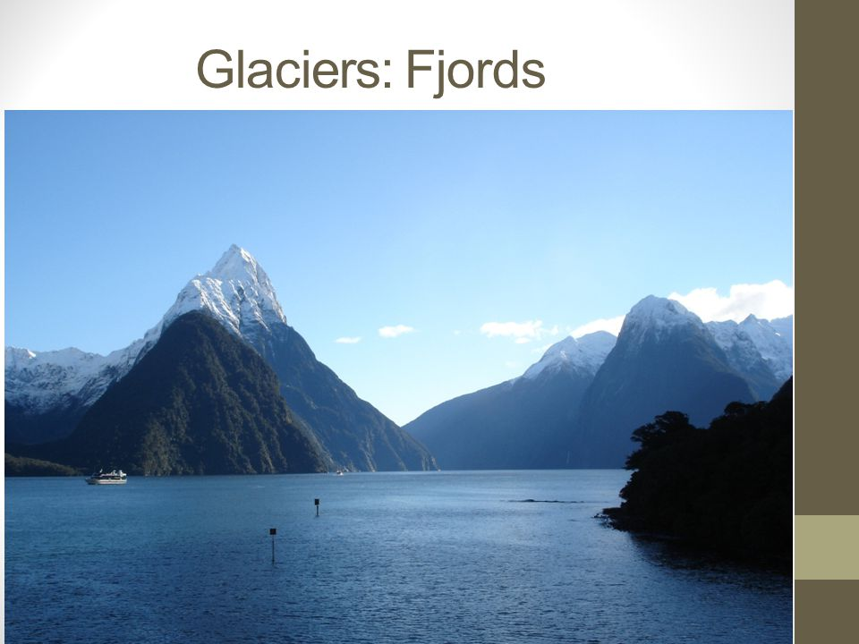 Glaciers: Fjords This picture shows Milford Sound, a fjord in the southwest of the South Island in New Zealand.