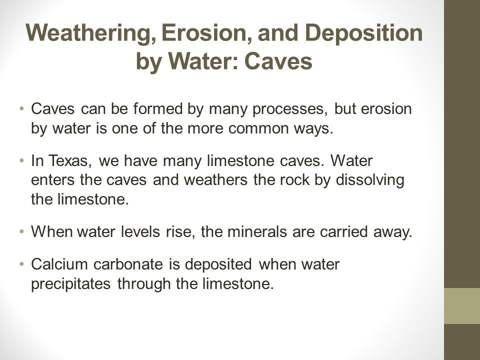 Weathering, Erosion, and Deposition by Water: Caves