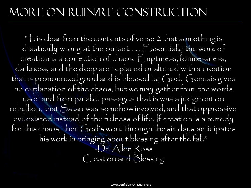 More on Ruin/Re-construction