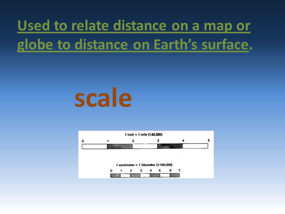 Used to relate distance on a map or globe to distance on Earth's surface.