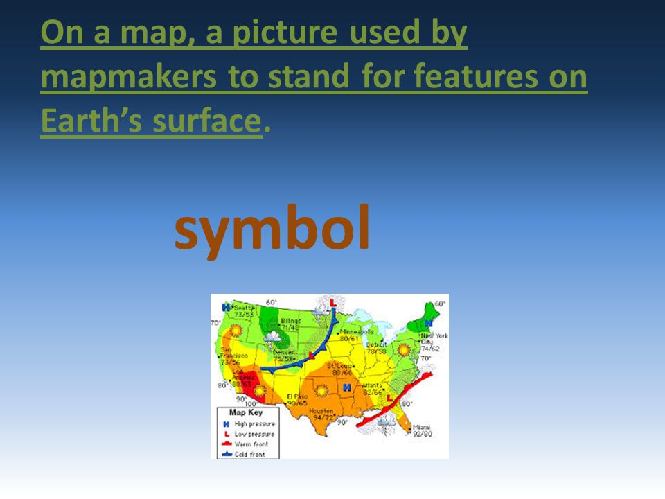 On a map, a picture used by mapmakers to stand for features on Earth's surface.