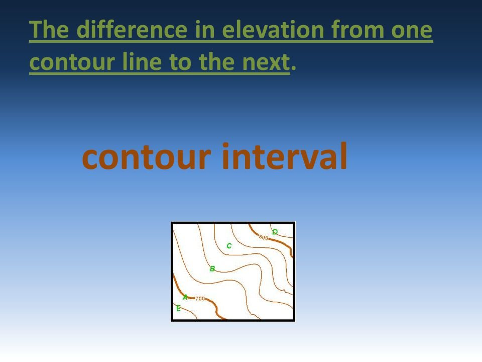 The difference in elevation from one contour line to the next.