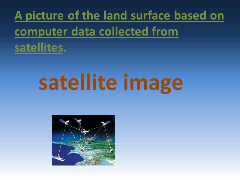 A picture of the land surface based on computer data collected from satellites.