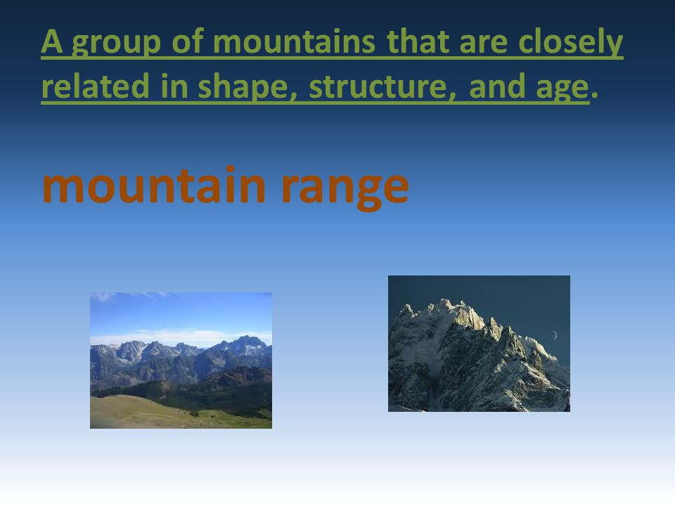 A group of mountains that are closely related in shape, structure, and age.