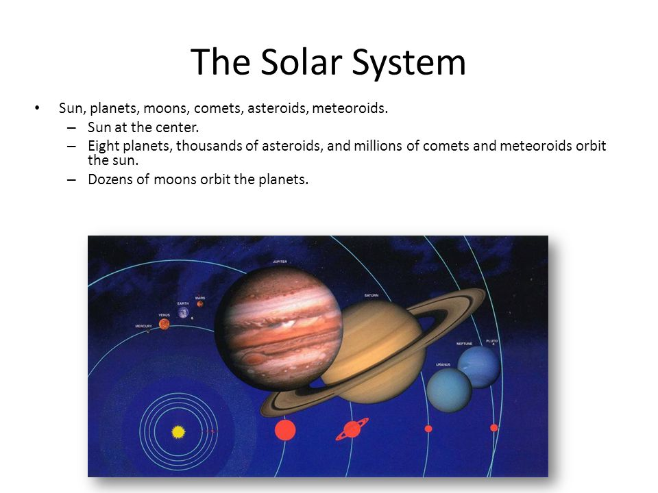 The Solar System Sun, planets, moons, comets, asteroids, meteoroids.
