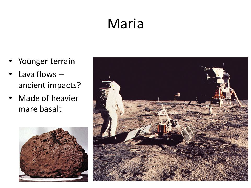 Maria Younger terrain Lava flows -- ancient impacts