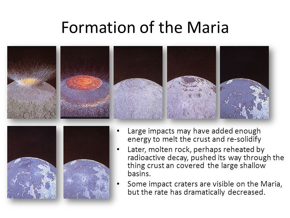 Formation of the Maria Large impacts may have added enough energy to melt the crust and re-solidify.