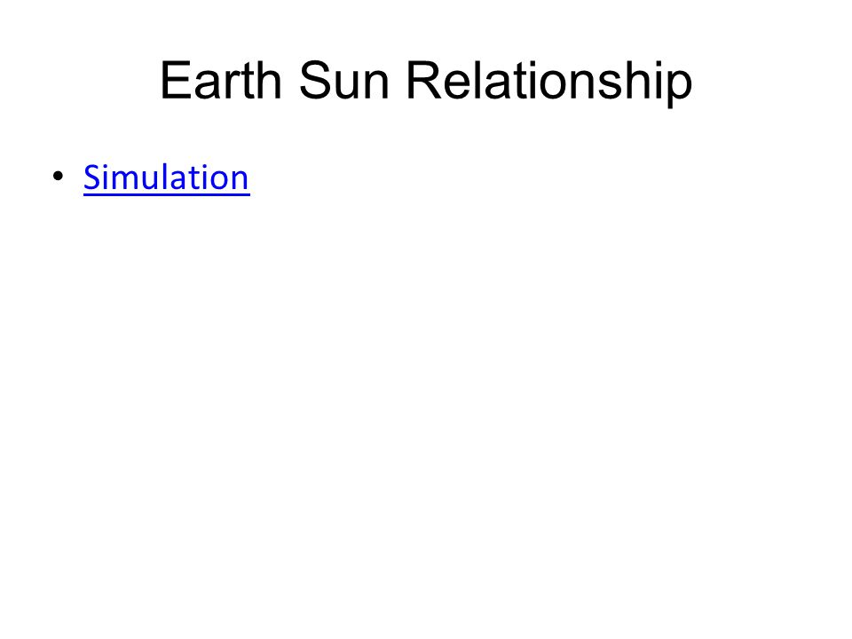 Earth Sun Relationship