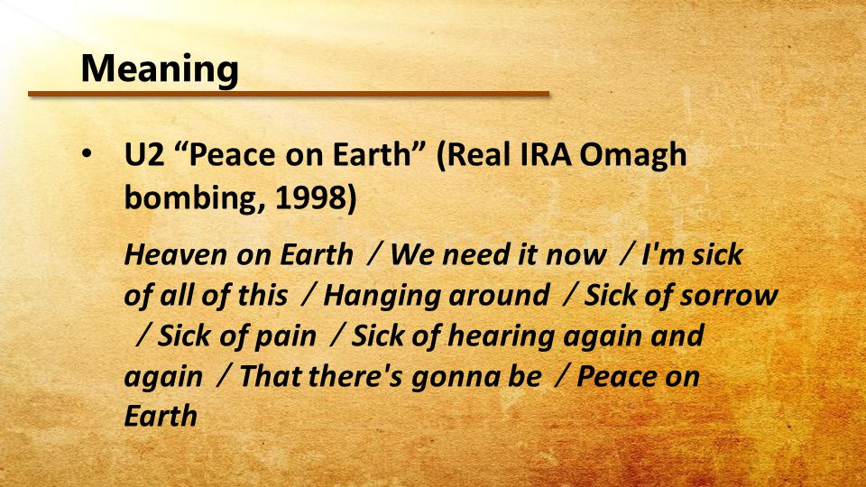 Meaning U2 Peace on Earth (Real IRA Omagh bombing, 1998)