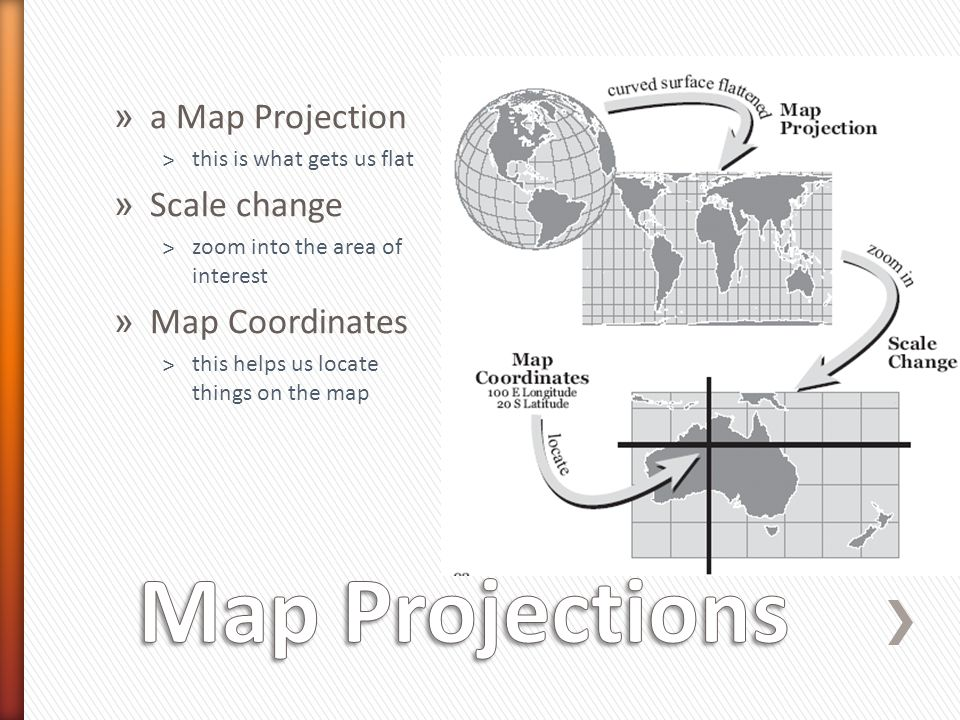 Map Projections a Map Projection Scale change Map Coordinates