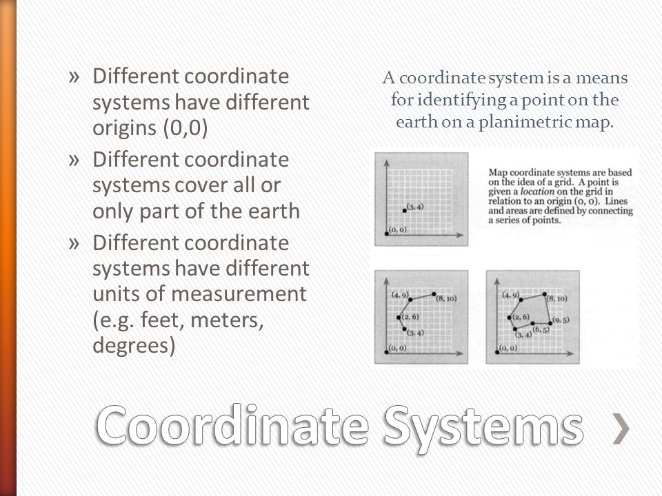 Different coordinate systems have different origins (0,0)